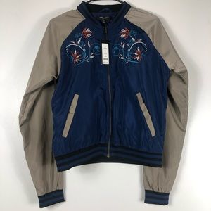 NWT Anthropologie Navy Blue Bomber Jacket